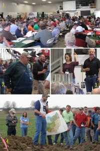 "1) 300 farmers and soil lovers gather in a seed-cleaning barn 2) ""guru"" farmer Dave Brown shows-off an air-seeder that shoots cover crops seesd into 7 ft high corn! 3) USDA NRCS and helper demonstrate the destructive power of bad soil 4) soil scientists dig into the earth to look for worms and soil- indicators"